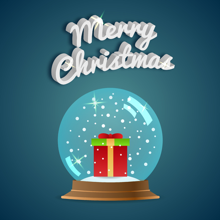 snowglobe: Merry Christmas. Greeting card. Snow globe.