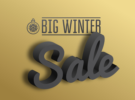 winter sale: Big winter sale. the 3D text on gold background. illustration