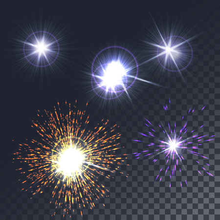 special effect: Set glowing lights, stars, the sun. The special effect isolated on a transparent background. Vector