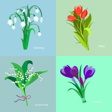Zet voorjaarsbloemen. Plat ontwerp.
