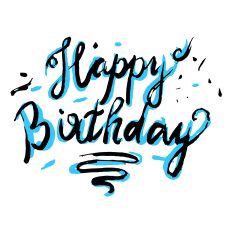 crafted: Happy Birthday Brush Script Style lettering. Retro Vintage Custom Typographic Composition. Original Crafted Design. Calligraphic Phrase.
