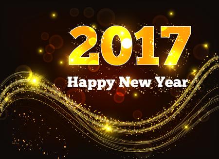 Grußkarte Frohes Neues Jahr 2017. Sterne, Urlaub, Glanz. Illustration Vektorgrafik