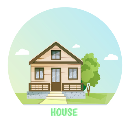 rural house: Colorful rural house. Flat buildings. illustration