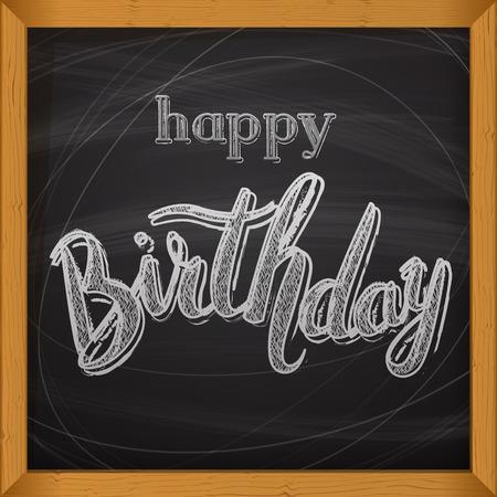 Happy Birthday vector card. Handdrawn, lettering design for invitation and greeting card. ?halk on a blackboard. Vector Illustration.
