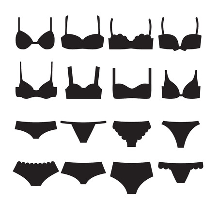 Underwear set icons. Bra different styles and woman panties. Template for shop card or banner. Vector illustration
