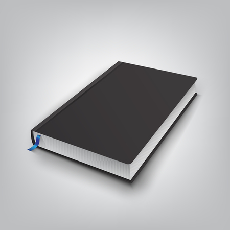 Realistic book with black cover. Mock Up of books. Vector illust Illustration