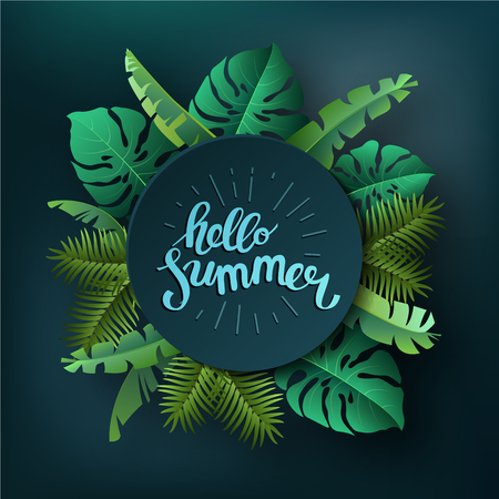 beach party: Hello summer, summertime. The text poster against the background