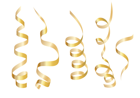 Set gold curly ribbon serpentine. Isolated on white background.