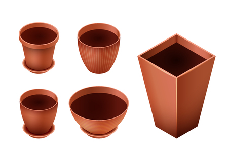 Set of empty ceramic brown flowerpots for cultivation of plants. Clay pot in an isometry,  isolated on a white background. Vector illustration