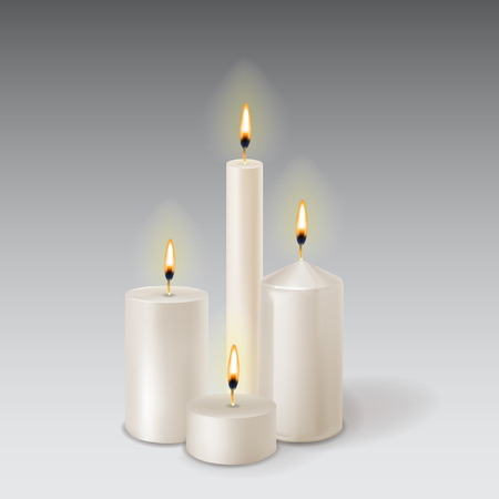 A set realistic paraffin candles isolated on transparent background.