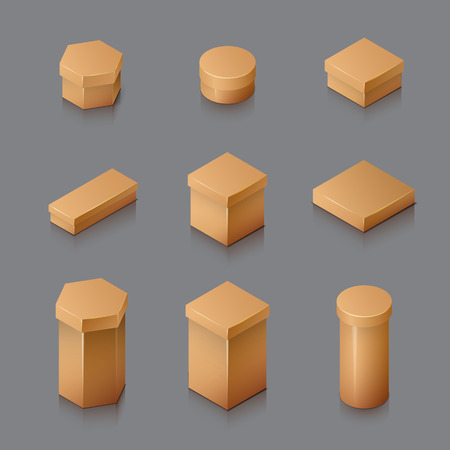 Set of Isometric carton packaging box. 3D realistic icons. Vector illustration Illustration