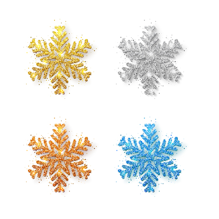 Set of glitter snowflakes on transparent background. Greeting card, invitation happy New year 2018 and Christmas. Vector