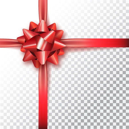Red bow for packing gifts. Realistic vector illustration on transparency grid.