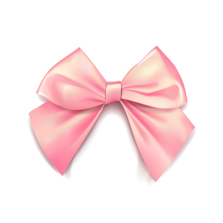 Pink bow for packing gifts. Realistic vector illustration on transparency grid. Vectores