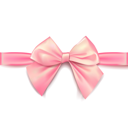 Pink bow for packing gifts. Realistic vector illustration on white background. Illusztráció