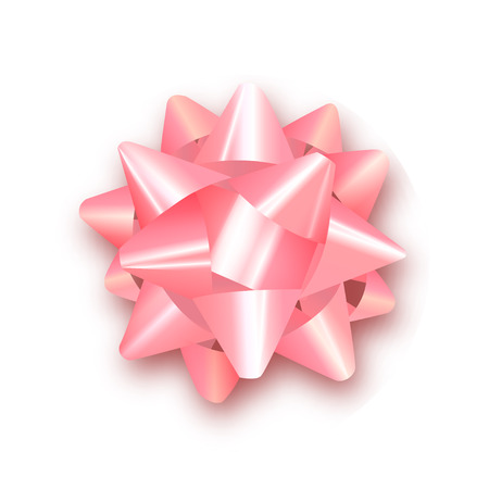 Pink bow for packing gifts. Realistic vector illustration.