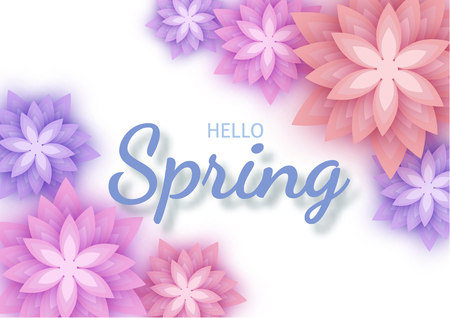 Hello Spring, floral greeting card, paper flowers.