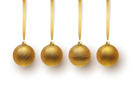 Set of gold Christmas ball, with an ornament and spangles. Isolated on white background. Vector illustration.