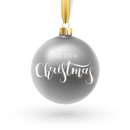 Christmas greeting card. Red Christmas ball, with an ornament and spangles.Hand drawn lettering. Vector illustration.