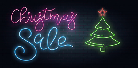 Christmas greeting card, vector background. Christmas lettering in Neon style on brick background. Blue and Purple neon colors, neon stars and xmas fir-tree. Hand drawn lettering. Vector Illustration