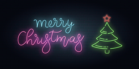 Christmas greeting card, vector background. Christmas lettering in Neon style on brick background. Blue and Purple neon colors, neon stars and xmas fir-tree. Hand drawn lettering. Vector Stock Illustratie