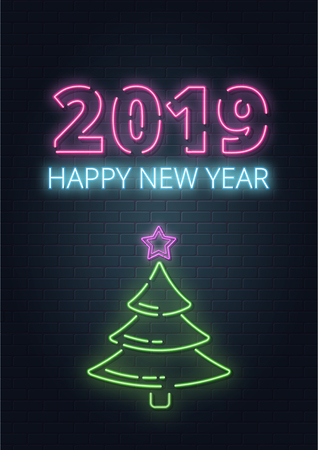 Greeting card, invitation with happy New year 2019.Christmas lettering in Neon style on brick background. Blue and Purple neon colors, neon stars and xmas fir-tree. Hand drawn lettering. Vector