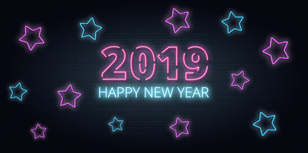 Greeting card, invitation with happy New year 2019.Christmas lettering in Neon style on brick background. Blue and Purple neon colors, neon stars. Hand drawn lettering. Vector