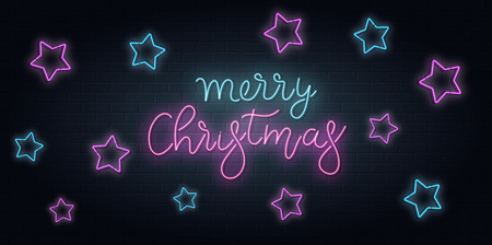 Christmas greeting card, vector background. Christmas lettering in Neon style on brick background. Blue and Purple neon colors, neon stars.. Hand drawn lettering. Vector