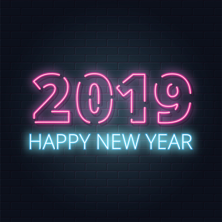 Greeting card, invitation with happy New year 2019.Christmas lettering in Neon style on brick background. Blue and Purple neon colors. Hand drawn lettering. Vector