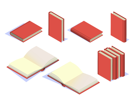 Set book icons in isometric. Vector set box book, open book. School books isolated on white background. Vector illustration Stock Illustratie
