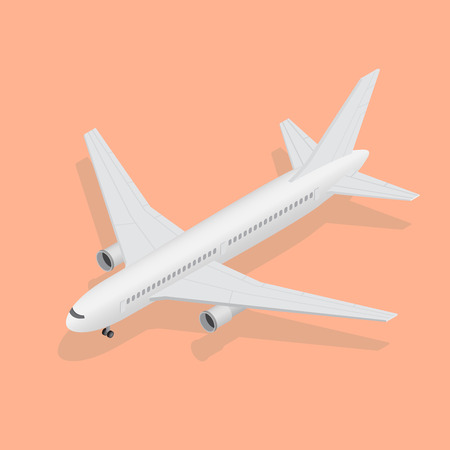 3d isometric plane, high quality transport. Flight of the plane in the sky. Passenger airplane, sunny weather. Color flat icons. Vector illustration