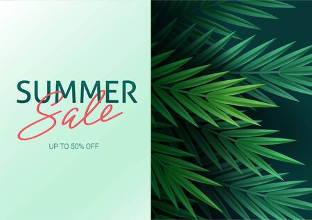 Hello summer, summertime. The text poster against the background of tropical plants. Palm leaves, jungle leaf and handwriting lettering. The poster for sale and an advertizing sign.  Vector Illustration. Stock Illustratie