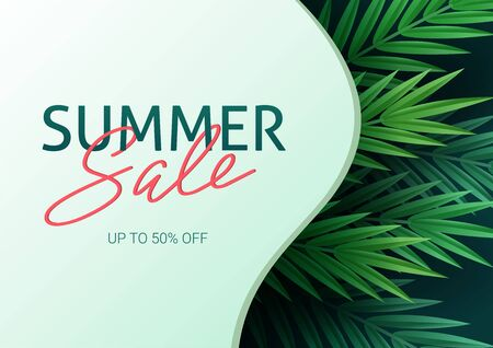 Hello summer, summertime. The text poster against the background of tropical plants. Palm leaves, jungle leaf and handwriting lettering. The poster for sale and an advertizing sign.  Vector