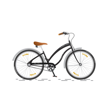 Sports bicycle. Flat bike isolated on white background. Healthy lifestyle and city vehicle. Vector illustrations