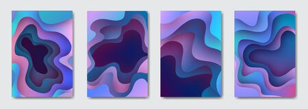 Set 3d paper art illustration. Bright colorful halftone gradients. Design layout for banners presentations, flyers, posters and invitations. Vector Stock Illustratie