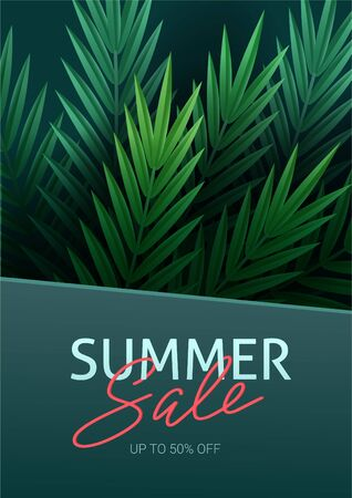 Hello summer, summertime. The text poster against the background of tropical plants. Palm leaves, jungle leaf and handwriting lettering. The poster for sale and an advertizing sign.