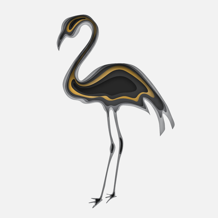 3d paper art illustration. Tropical bird of a flamingo in style paper art. Gold and grey halftone gradients. Design layout for banners presentations, flyers, posters and invitations. Vector illustration