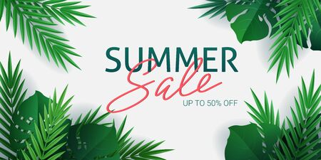 Hello summer, summertime. The text poster against the background of  gold tropical plants. Palm leaves, jungle leaf and handwriting lettering. The poster for sale and an advertizing sign.  Vector Stock Illustratie
