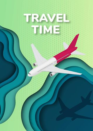 Travel and tourism background. Passenger plane in isometric view. 3d paper art illustration.  Landscape the top view, the top view on the river. Vector illustration Stock Illustratie