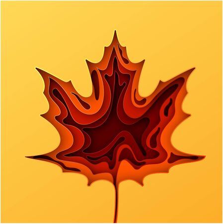 Paper art cartoon abstract waves. Autumn paper carve background. The maple leaf which is cut out from paper. Modern origami design template. Vector illustration. Stock Illustratie