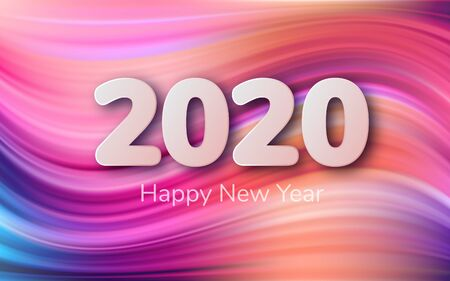 2020 happy New Year background. Multi-colored acrylic brush. Liquid background with wave shapes in rainbow color. Abstraction for design. Vector