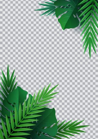 Hello summer, summertime. Background of tropical plants. Palm leaves, jungle leaf. The poster for sale and an advertizing sign.  Vector Stock Illustratie