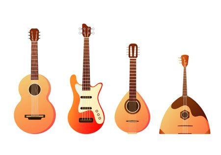Set of stringed musical instruments. Collection of balalaika, harp, double bass, violin, guitar. Design layout for banners presentations, flyers, posters and invitations. Vector