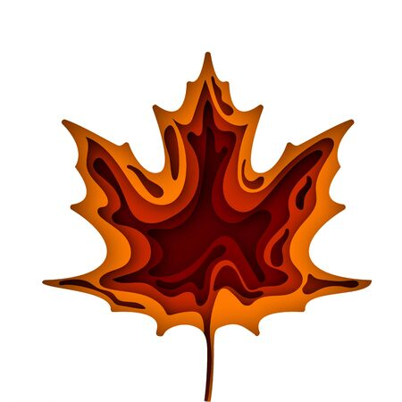 Paper art cartoon abstract waves. Autumn paper carve background. The maple leaf which is cut out from paper. Modern origami design template. Vector