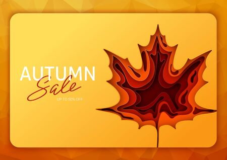 Origami autumn for concept design. Fall background design. Banner background. Vector illustration paper art. Bright fall leaves. 일러스트