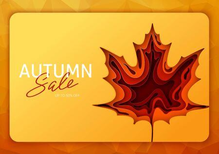 Origami autumn for concept design. Fall background design. Banner background. Vector illustration paper art. Bright fall leaves. Illustration