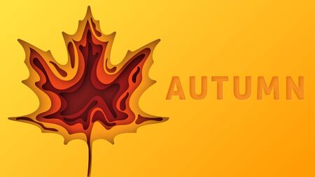 Autumn text greeting in banner design on an orange background. Label maple tree silhouette. Paper cut and craft. Vector Illustration