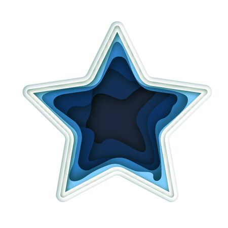Paper art cartoon blue star in realistic trendy craft style