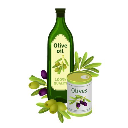 Olive oil bottle with brand label. Isolated flat vector element for advertising placard or banner. Vector illustration on white isolated background Фото со стока - 130800895
