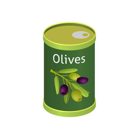 Olives in metallic can with brand label. Isolated flat vector element for advertising placard or banner. Vector illustration on white isolated background